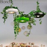 Modern Plant Pot Pendant Lamp Nordic Dining Room Hanging Light Fixture DIY Potted Shade Luminaire Office Home Art Decor Lighting