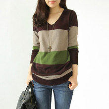 2019 elegant office lady spring and autumn striped woman sweater long sleeve pullover v-neck color block knit female sweater stylish long sleeve round neck color block striped patterned girl s sweater