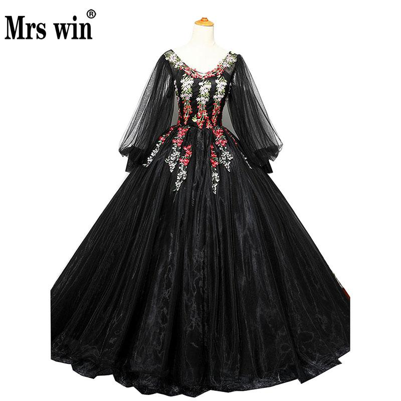 Quinceanera Dresses The Black Luxury Embroidery Ball Gown Long Cap Sleeve Vintage Party Prom Robe De Soiree F
