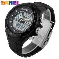 SKMEI Brand New 2016 Men Military Sport Watches 2 Times Zone Backlight Quartz Chronograph Jelly Silicone
