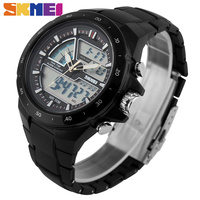 SKMEI Brand New 2016 Men Military Sport Watches 2 Times Zone Backlight Quartz Chronograph Jelly Silicone
