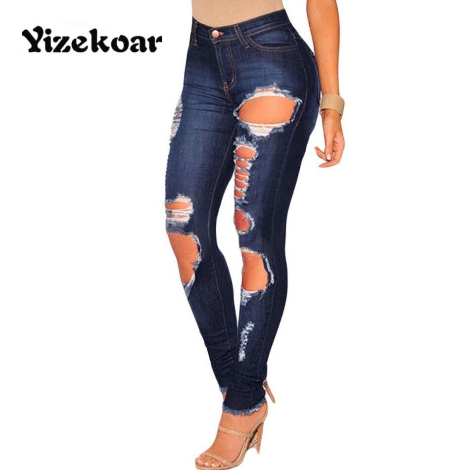Yizekoar new arrival Stretch Woman 2017 Light Denim Wash Ripped Skinny Jeans Plus Size Pencil Jeans Female Slim Pants DL78661 inc international concepts petite new diva wash skinny leg jeans 6p $69 5