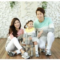Family Look Fashion Mother Father Baby Cotton Mommy and Me Clothes Family Fight Color Matching Outfits