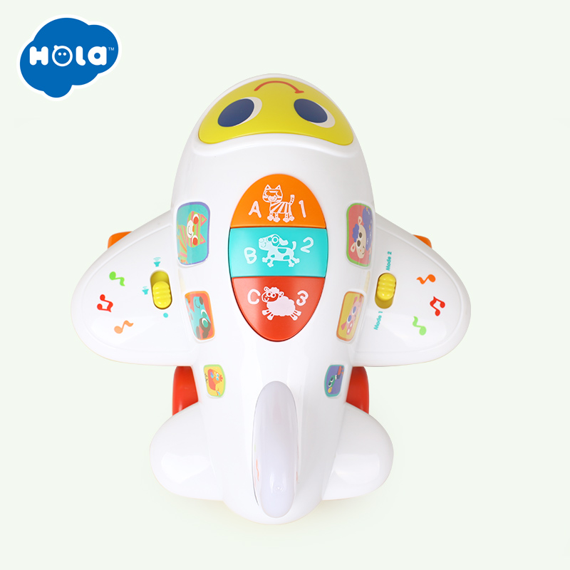 ad5f69c76 HOLA 6103 Baby Toys Electronic Airplane Toy with Lights   Music Kids Early  Learning Educational Toy for Children 12 month+-in Diecasts   Toy Vehicles  from ...
