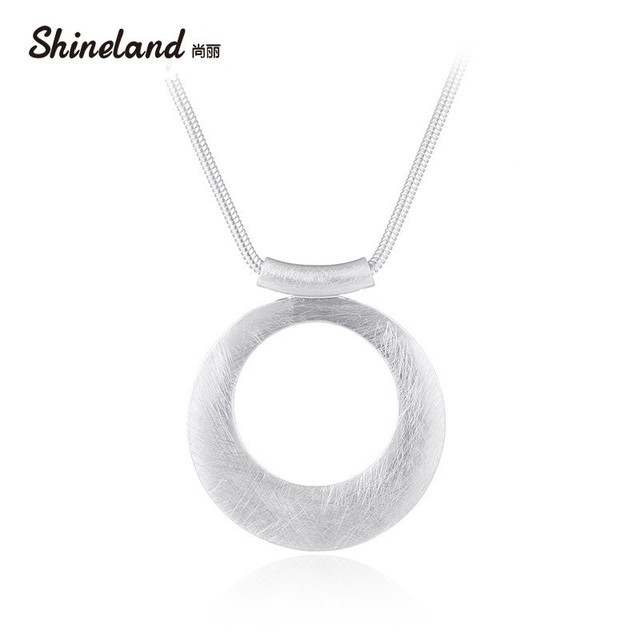 Shineland Simple Hollow Circle Handmade Wire Drawing Silver Necklace ...