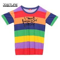 2018 Summer Women T Shirt Long Fashion Rainbow Striped Letter Print Short Sleeve Tops Tee Cotton Loose Plus Size T Shirts Female
