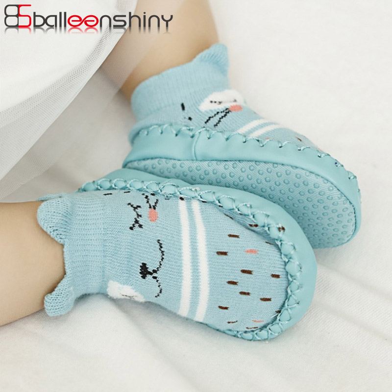 BalleenShiny Toddler Floor Socks With Rubber Soles Baby Elastic Cotton Cartoon Anti-slip Socks Infant Fashion Soft Sole Socks balleenshiny baby thicken wool socks toddler infant anti slip keep warm sock fashion solid color clothes accessory autumn winter