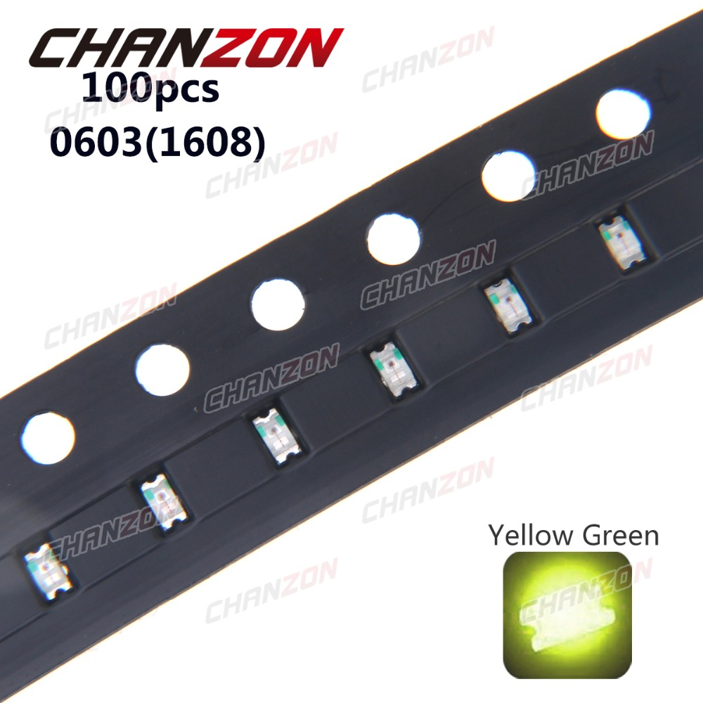 100pcs <font><b>SMD</b></font> 0603 (<font><b>1608</b></font>) Yellow Green 20mA DC 2V Surface Mount SMT Bead Bulb <font><b>LED</b></font> Light Emitting Diode Lamp Electronics Components image