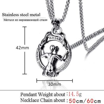 ZFVB Punk Skull Necklace Men Women Chain Stainless Steel Gothic Biker Mirror Pendant Necklaces Male Halloween Jewelry Gift 1