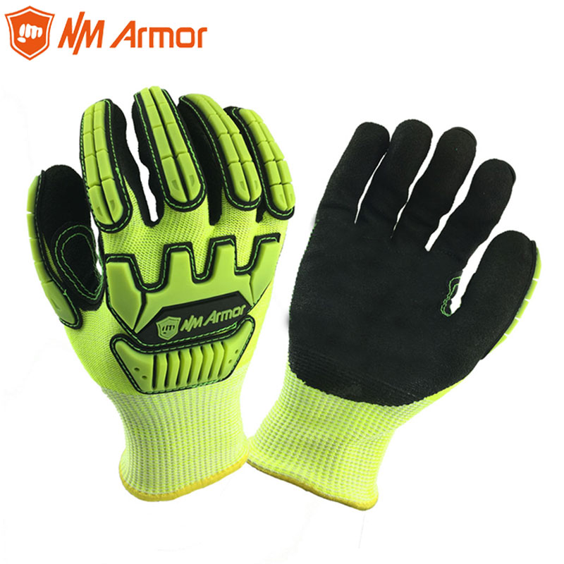Obliging Nmaromr Anti Vibration Cut Resistant Work Gloves With Hppe Nylon Dipped Nitrile Oil-proof Mechanics Safety Work Gloves Rich And Magnificent Workplace Safety Supplies
