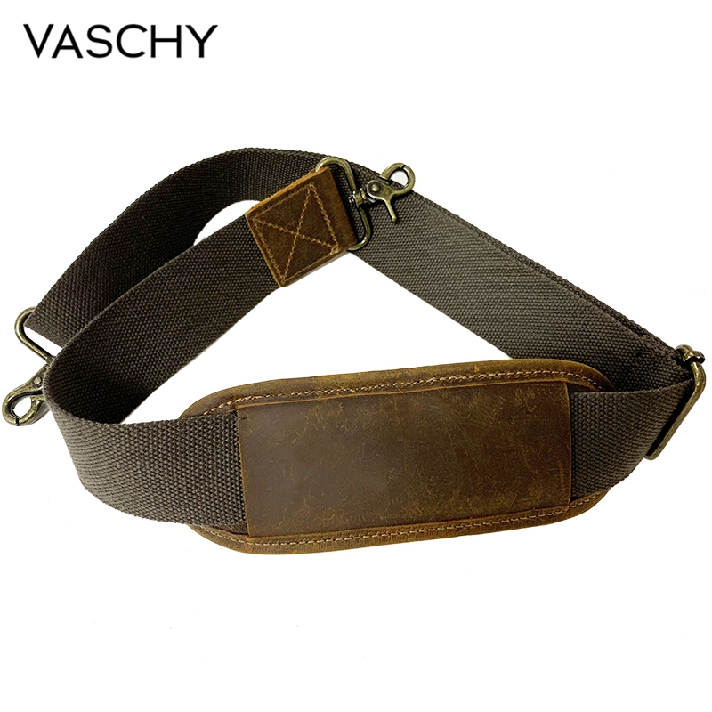 VASCHY Padded Shoulder Strap Replacement Quality Genuine Cowhide Leather Adjustable Straps For Messenger, Laptop, Travel Bag