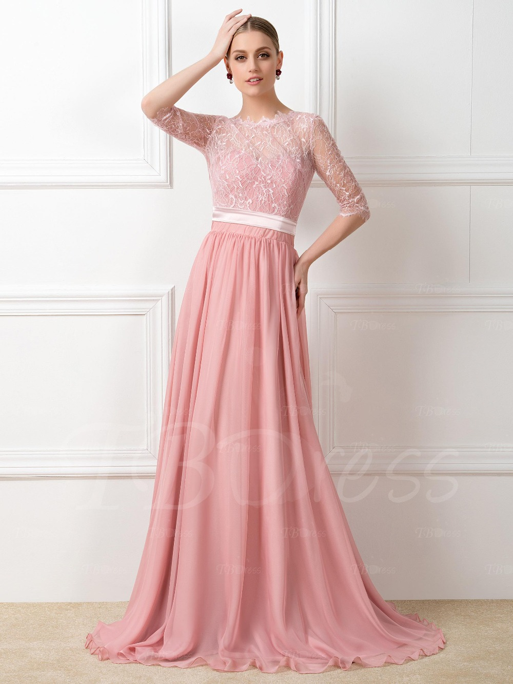 Bridesmaid Dresses 2017 Pink Chiffon Custom Made Floor Length Lace ...