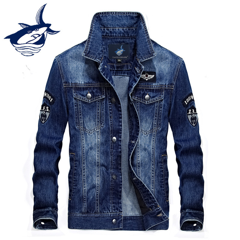 Nueva Marca elegante Tace Shark chaqueta de mezclilla para hombre Casual Retro Streetwear Jeans chaqueta abrigo de tiburón ropa de mezclilla Jaqueta Masculina-in Chaquetas from Ropa de hombre    1