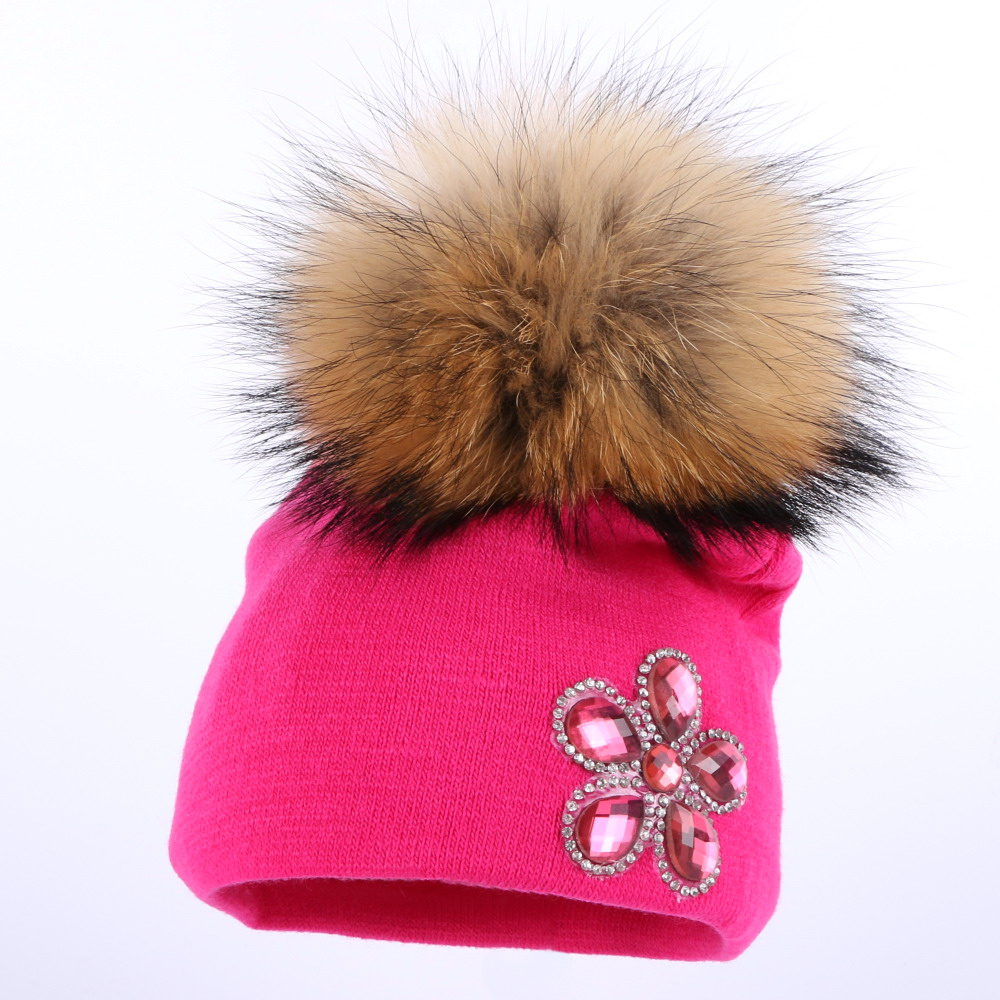 a8f18ad069f ... New York to design ... boy girl baby new design winter hats fuchsia crystal  floral cotton skullies children cute beanies large mink pompom gorros hat.