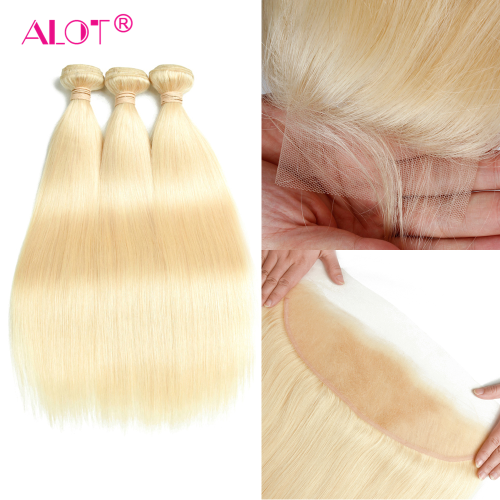 Alot 613 Blonde Bundles With Frontal Pre Plucked Peruvian Straight Hair Honey Platinum Blonde Bundles With