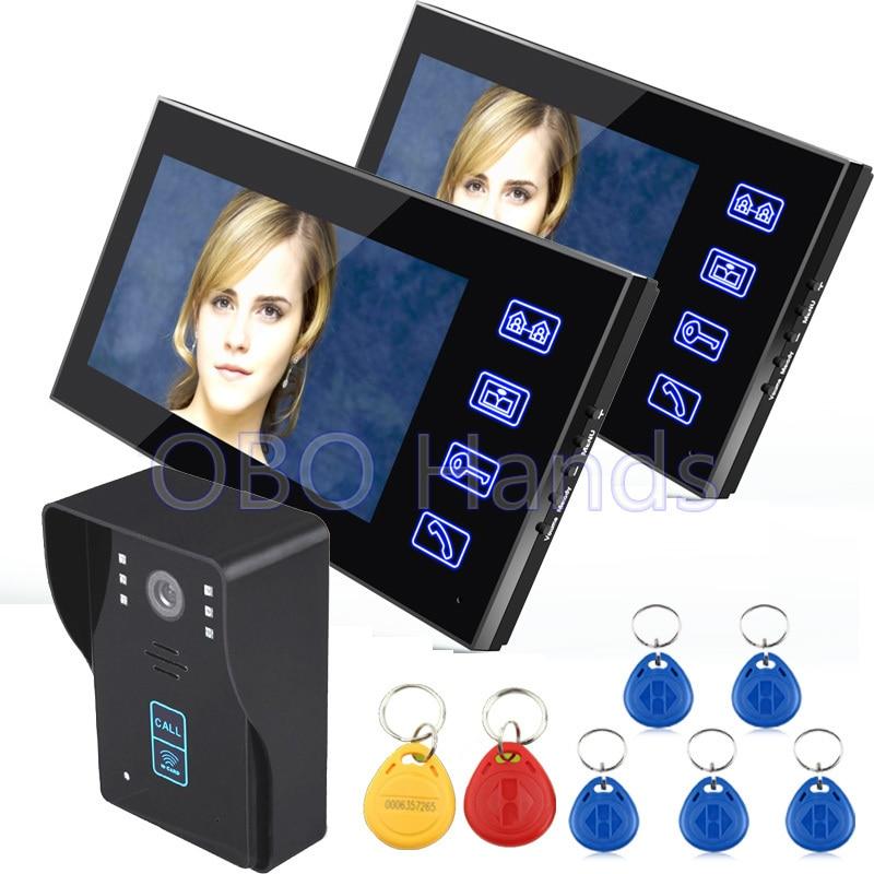 7 Color Video font b Door b font Phone Video Doorbell Intercom System 2 Monitor 1