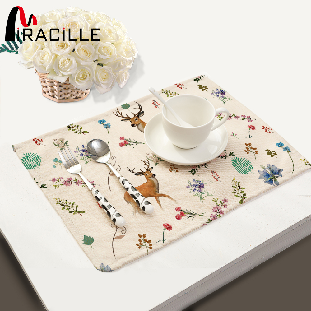 Us 4 86 5 Off Miracille 2 6 Pcs Kitchen Modern Accessories Cotton Linen Deer Flower Print Dinner Table Placemats Tea Towel Napkin Home Decor In