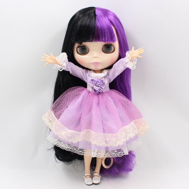 TBL Neo Blythe Doll Black Purple Hair Jointed Body