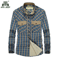 Afs jeep Spring & Autumn New Men's Plaid Long Sleeved Cotton Shirt Men Casual High Quality Business Shirt Men Fashion Tops 75wy