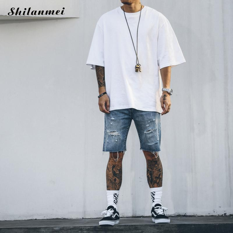Hot Sale Short Jeans Men Destroyed Ripped Denim Frayed Cotton Knees Shorts Summer Board Shorts Thin Men Clothing Male Pants купить