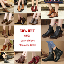Clearance Sales Big Discount Genuine Leather Women Boots Handmade Retro Ankle