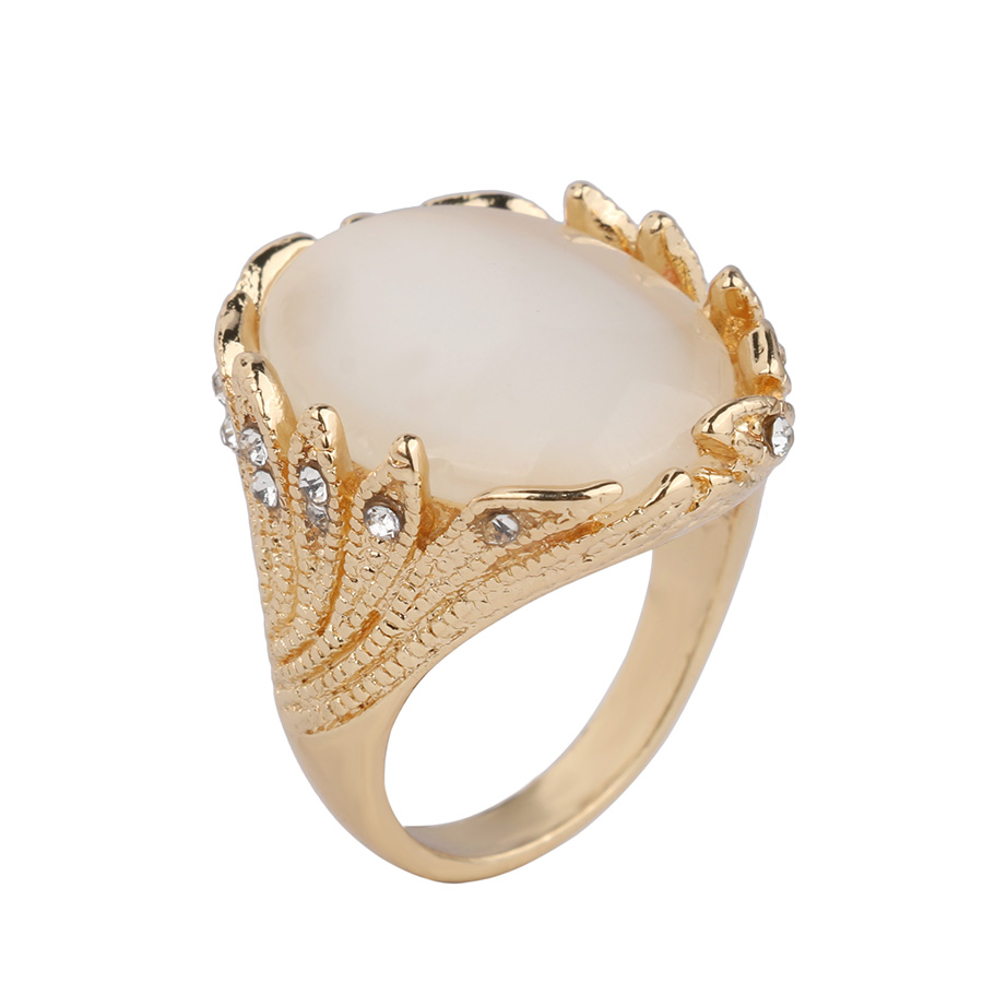 Antique Gold Color Resin Rings For Women Wedding Accessories Delicate Jewelry Fine Gift Wholesale Fine Jewelry YUN0466