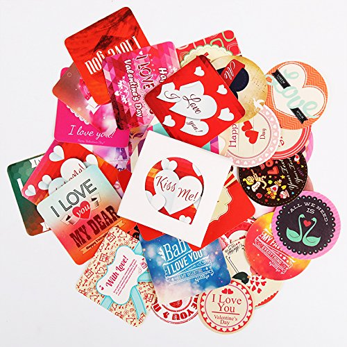38 Pcs Creative Valentines Day Paper Sticker Diary Label Stickers