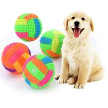 Pet Dogs Flashing Football Shape Led Light Sound Bouncy Ball Funny Kids Toy Interactive Dog Cat Chew Toys Small Large