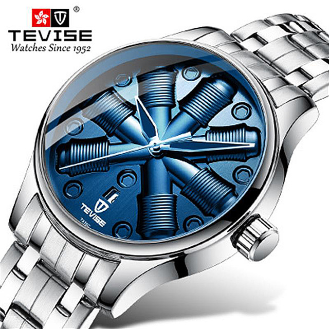 Fashion Brand Tevise Men Automatic Mechanical Watch Mens Stainless Steel Unique Dial Wristwatch Relogio Masculino(China)