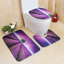 Flannel Printing Thickening and Warm 3D Natural scenery Bathroom Slip-proof Toilet Cushion Three-piece Set bathroom carpet mat bathroom flannel skidproof shore scenery mat