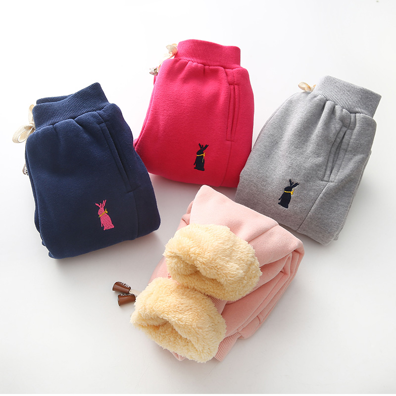 Bibicola Solid Children Pants Toddler Trousers Baby Boys Girls Sport Pants Kids Child Winter Warm Plus Velvet Thickening Pants