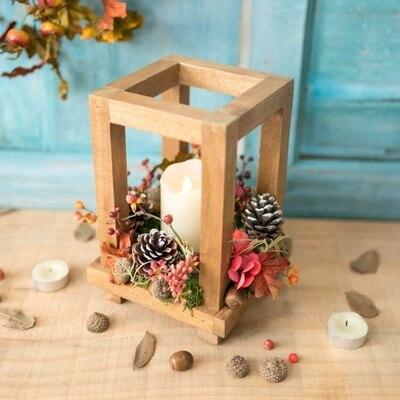 Nordique en bois rétro chandelier électronique bougeoir chandelle dîner accessoires Ins décoration de Table ornements