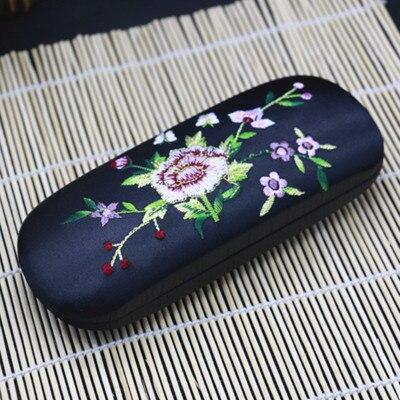 Высококачественная коробка ручной работы с двойной вышивкой, футляр для хранения очков, тонкая вишня, настоящая шелковая парча, Подарочная коробка, пенал - Цвет: Черный