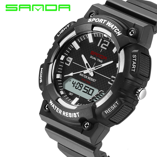SANDA 2016 New Men Women Sports Waterproof Watch Rubber LED Outdoors Wristwatches Dual Time Quartzwatches Gift For Student