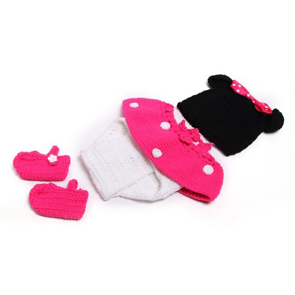 Newborn Girl Baby Hat+Skirt+Diaper Cover+Shoes Minnie Mouse Crochet ...