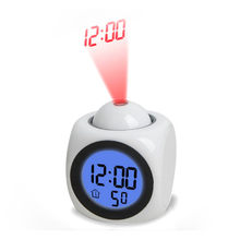 Digital Alarm Clock Function Voice Call LED Projection Alarm Temperature modern design 3d table Desk Clock wall watch 2019(China)