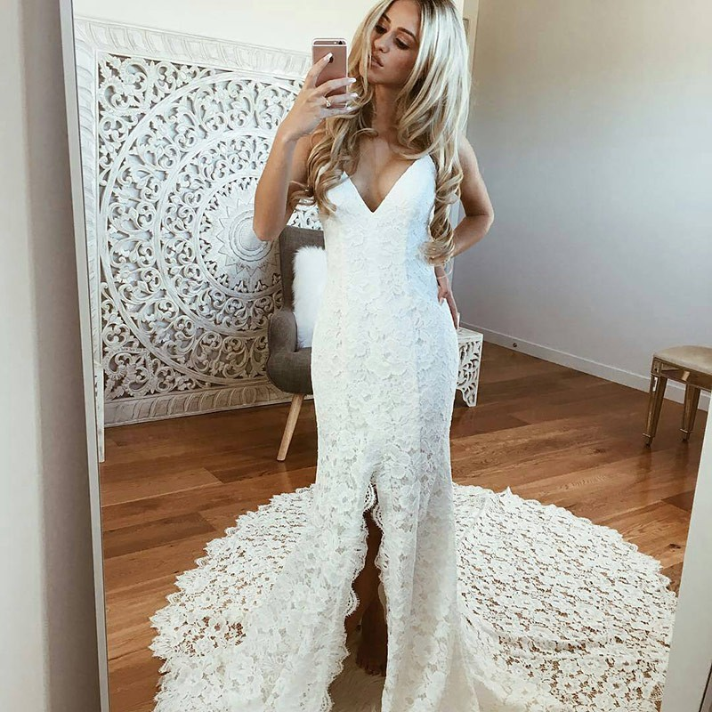 Elegant White Sexy Spaghetti Straps Mermaid Lace Wedding Dresses beach backless Bridal Gowns Wedding Gowns Vestido De Noiva