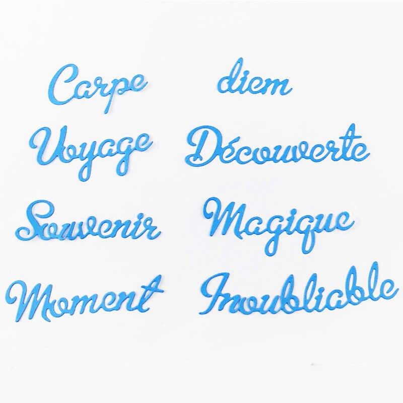 Wyse corte de metal dados palavras francês momento viagem sounvenir morrer scrapbooking carta ofício cortar para diy cartão suprimentos