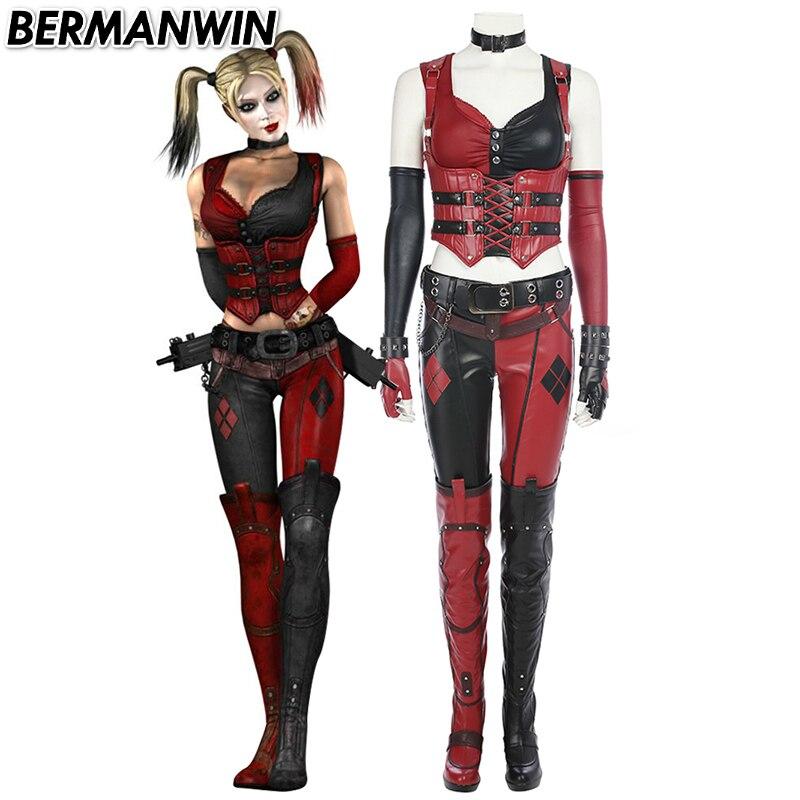 S HARLEY QUINN Womens Adult Costume Dress Batman Arkham City XS L M