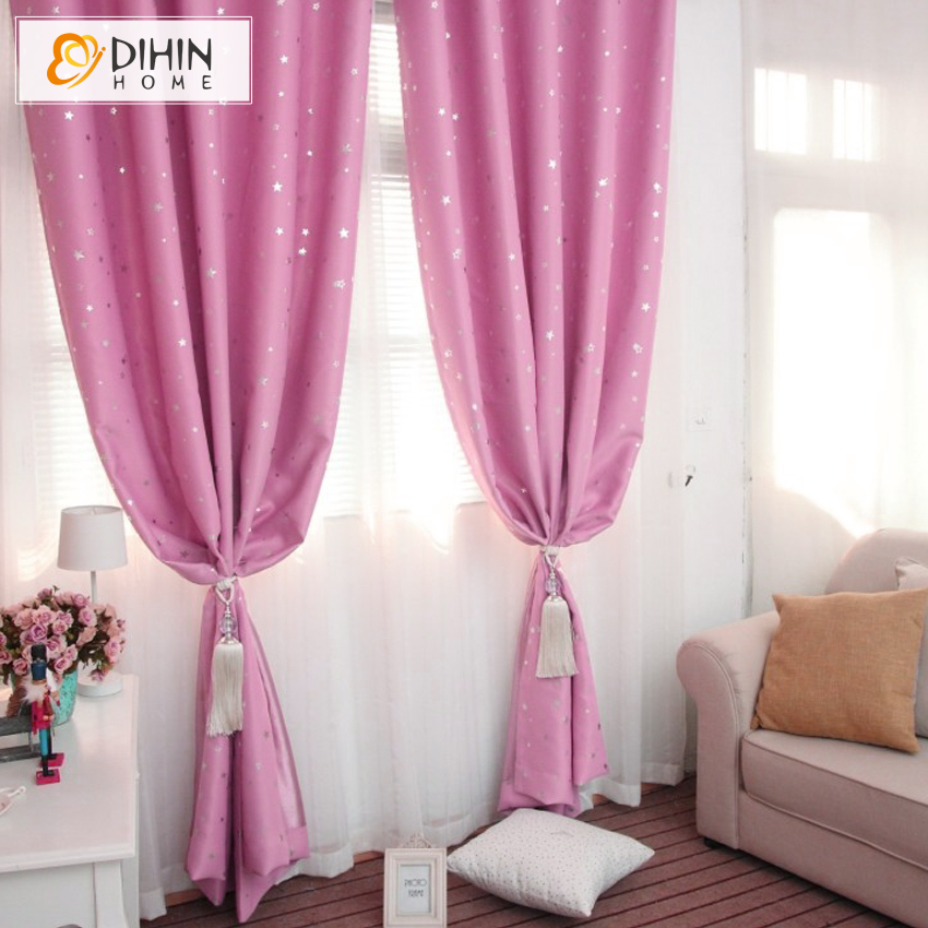DIHIN 1 Panel star blackout curtains for bedroom living room curtain ...