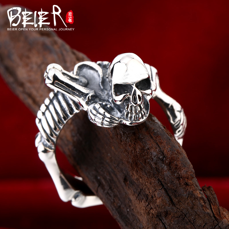 Beier 925 silver sterling jewelry 2015 new style Unique skeleton shape man ring D1089 patterns of repetition in persian and english