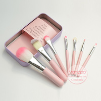 Brand 7pcs Makeup Brushes Set Synthetic Hair Portable Make Up Brush Short Handle Pink Cat With