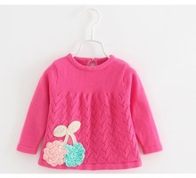 Lovely Pink Sweat Shirt Kids Long Sleeved Sweater Pullover Baby Girl For Spring ABS-1521