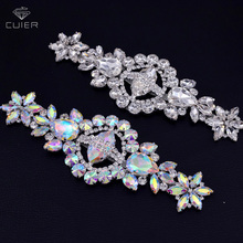 30pcs/lot very luxury shiny glass crystal AB color rhinestone silver base patches appliques for wedding women dress good quality