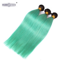 Fashion Queen Hair Pre Colored Brazilian Body Wave Ombre Hair Weave Bundles Two Tone T1B Grass Green Remy Human Hair Extension