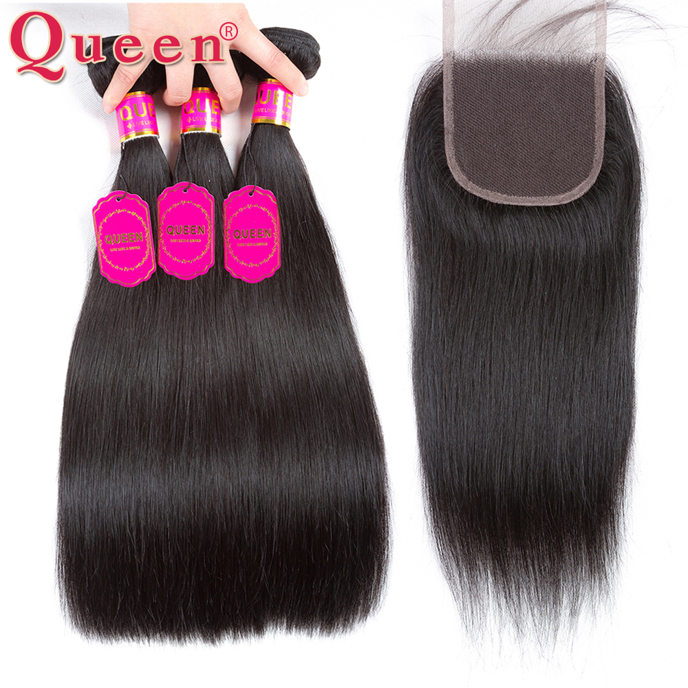 Queen Hair Products Peruvian Hair Bundles With Closure 4PCS Lot 100 Remy Human Hair Straight Hair