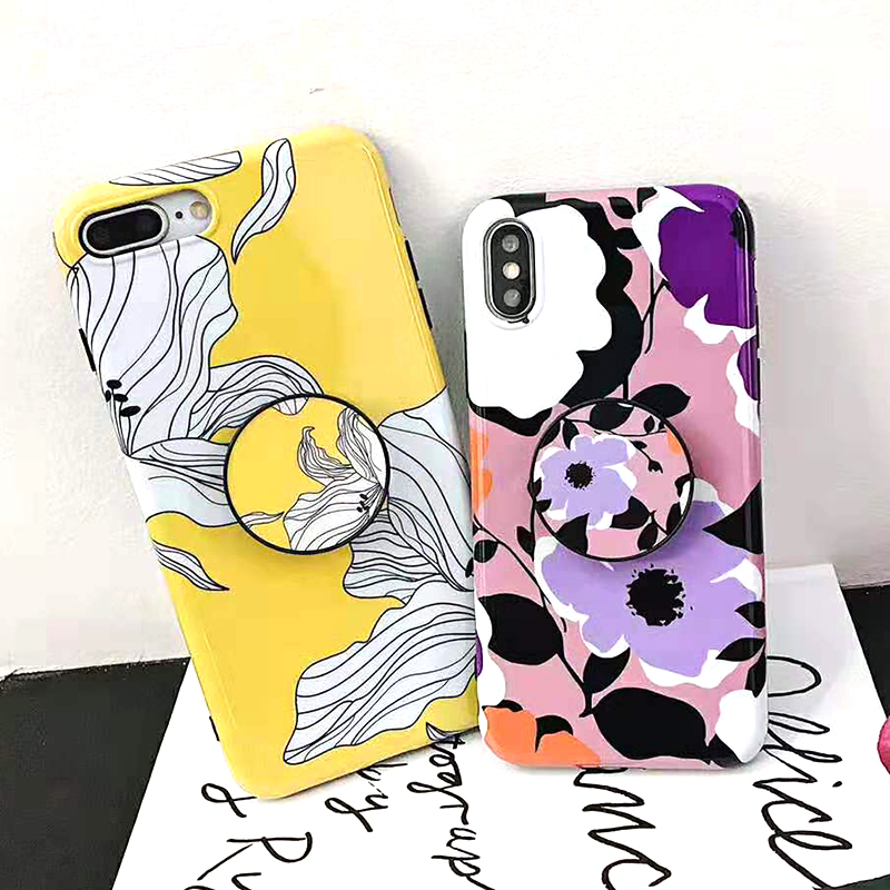 Bracket Case For iPhone XS Max XR X 8 7 6 6S 7 8 Plus Yellow Flowers Glossy Soft IMD Fashion Phone Back Cover Cases Coque Gift (6)