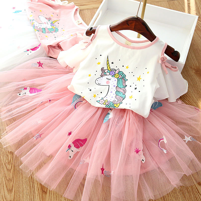 Summer Baby Girls Top Dress Outfits Clothes Sets Unicorn Floral Print Skirt Suit