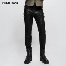 PUNK RAVE Men Heavey Metal Punk Rock Pants Fashion Gothic Street Spliced Leather Pencil Steampunk Personality