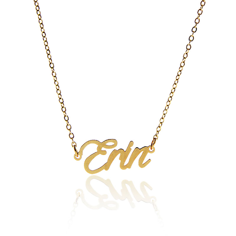 """Can't other names ,14K Gold plated Name Necklaces  """" Erin """" Stainless Steel 2015 Women Personalized Nameplate Necklace ,NL-2385"""